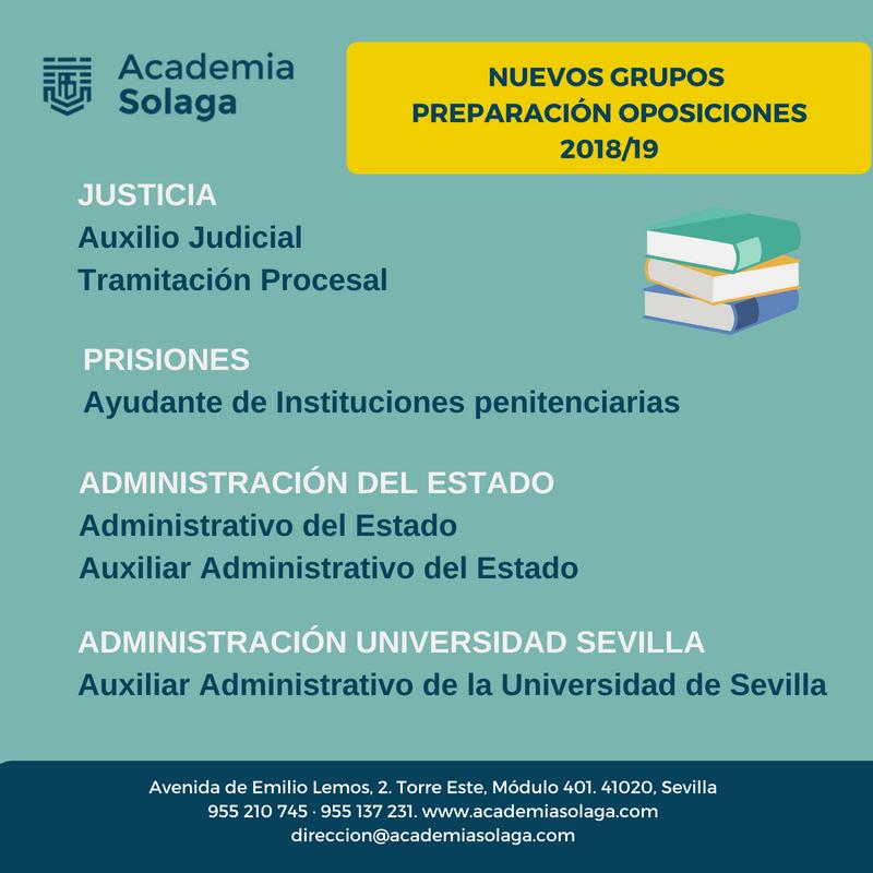 Preparación de oposiciones en Academia Solaga Curso 2018/19 (nuevos grupos)